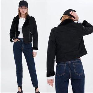 ZARA TRAFALUC Black faux suede biker Jacket